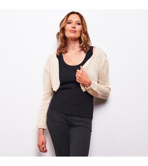 Cardigan Blanche - Kit à tricot en laine Wooly Lin Pelotes de 50 gr. Niveau Intermédiaire.   Un indispensable de cet été, un