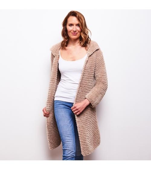 Manteau Sandra - Kit de Tricot en laine Wooly Doux Pelote de 100 gr. Niveau intermédiaire Vous n'aurez jamais porté un manteau