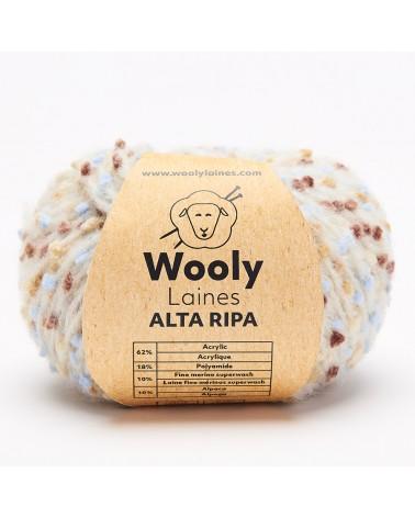 PELOTE DE LAINE ALTA RIPA Pelote de 50 gr. ALTA RIPA a unfil mousseux ponctué de boutons colorés. Avec son effet de doupions