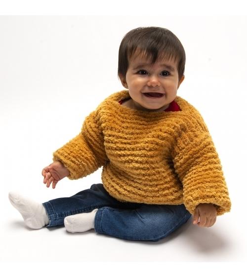 Pull Bambino - Kit de Tricot en Wooly Doux Pelotes de 100gr. Niveau débutant Avec notre Pull Bambino, bébé sera le plus beau d