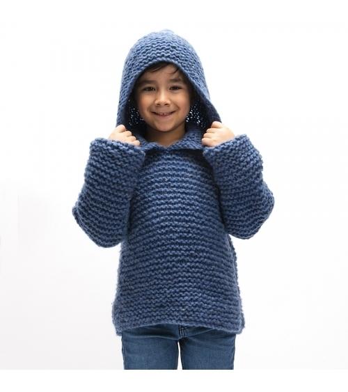 Pull Domy - Kit de Tricot en Laine Oslo Pelotes de 100gr. Niveau débutant Ce magnifique sweat à capuche est tricoté dans une l