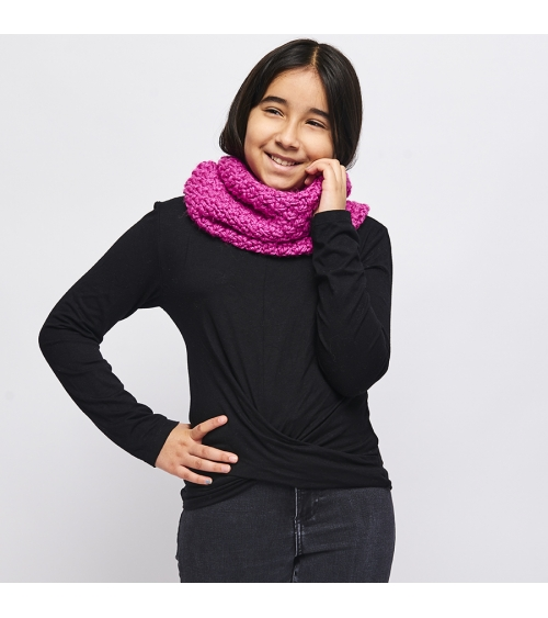 Snood Petite Camille Enfant - Kit de Tricot en laine RIGA Pelotes de 100gr. Niveau débutant. Jamais se protéger du froid n'aur
